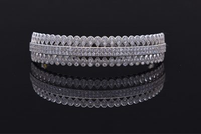 Latest 925 silver designs for women charm bracelet with three rings of white gems